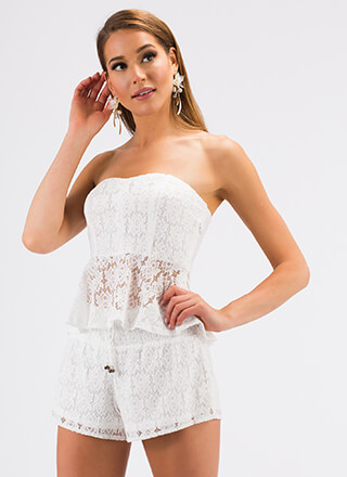 Love Lace Strapless Top And Shorts Set