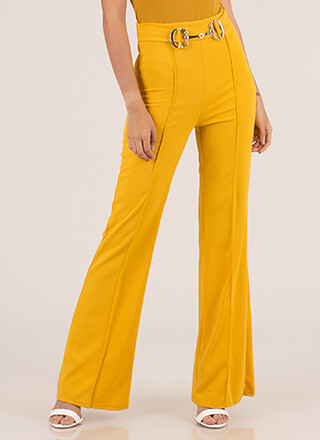 Belt Loop Pleated High-Waisted Pants