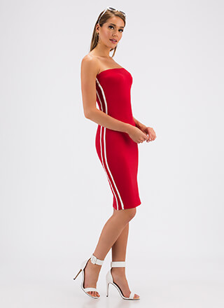 Side Lines Sporty Striped Tube Dress