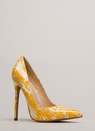 Stay Palm Tropical Faux Patent Pumps