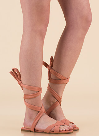 Fresh Legs Strappy Lace-Up Sandals