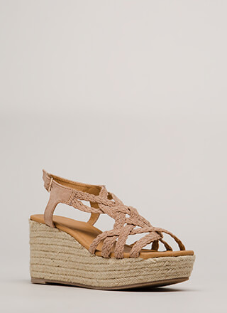 Next Vacay Braided Espadrille Wedges