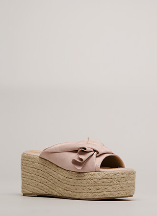 Pretty Pleats Faux Suede Mule Wedges