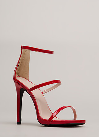 Make It Strappy Faux Patent Heels