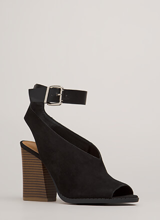 Day Off Chunky Cut-Out Ankle Strap Heels