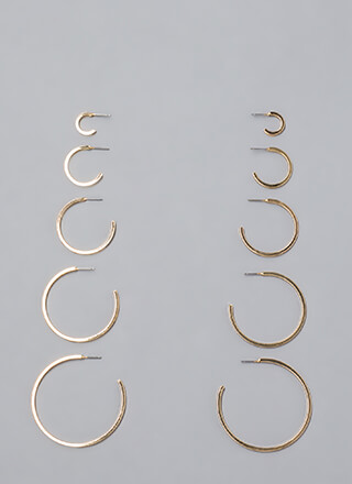 High Five Partial Hoop Earring Set