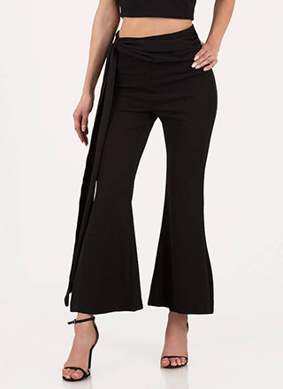 Sash Winner Cropped Bell-Bottom Pants