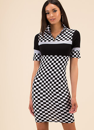 Fast Track Checkered Mockneck Dress