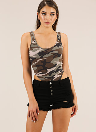 Hidden Figure High-Cut Camo Bodysuit