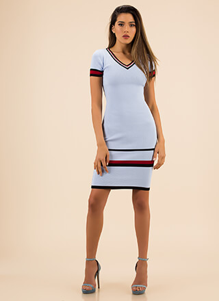 Sportswear Line Striped Trim Midi Dress
