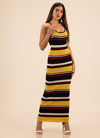 Longing For A Striped Knit Maxi Dress