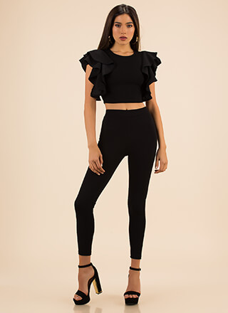 Frill Me Up Ruffled Top And Legging Set