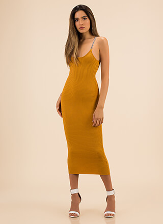 Link Up Ribbed Chain Strap Dress