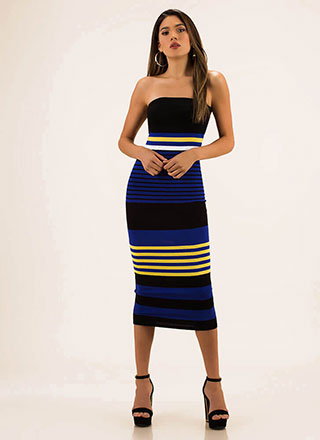 Stripe For Your Right Knit Tube Dress