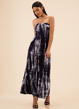 Totally Tie-Dye Strapless Maxi Dress