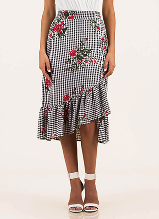 Life's A Picnic Floral Gingham Skirt