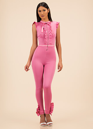 Ribbon Ceremony Ruffled Jumpsuit