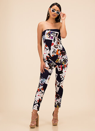 Photo Op Poster Print Strapless Jumpsuit