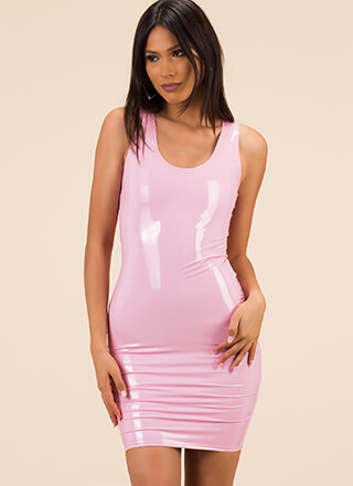 Liquid Courage Faux Patent Tank Dress