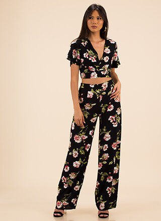 Flowers In Season Top And Pant Set