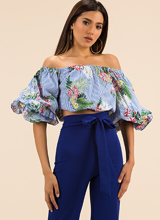 Leaf Me In Paradise Puffy Striped Top
