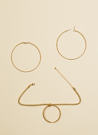 Play Hoops Choker And Earrings Set