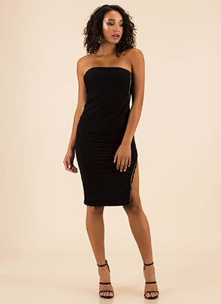 Slit Factor Strapless Zipper Dress
