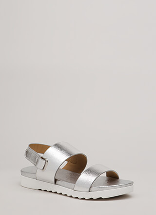 Walk Out Wide Strap Metallic Sandals