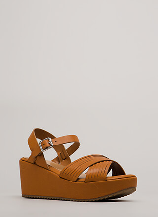 Slits All Good Strappy Platform Wedges