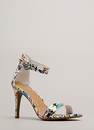 Draw Attention Doodle Print Heels