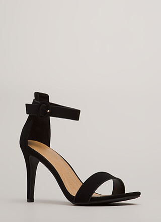 Strappy Satisfaction Faux Nubuck Heels