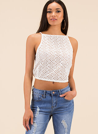 Easy On The Eyelets Tie-Back Top