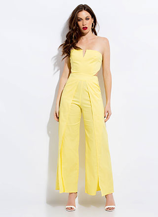Away We Go Strapless Palazzo Jumpsuit