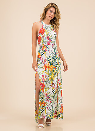 Nature Calls Open-Back Slit Floral Maxi