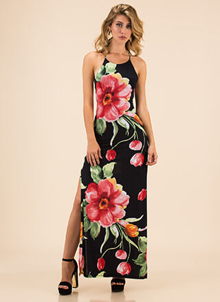Bring Flowers Lace-Back Floral Maxi