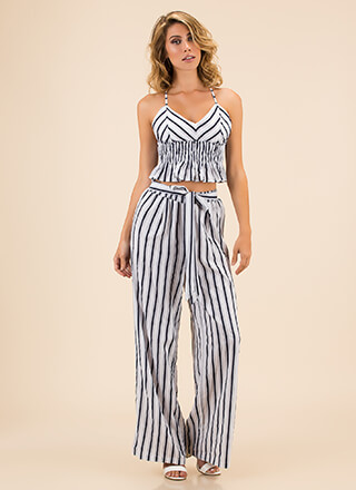 One Plus One Striped Top And Pant Set