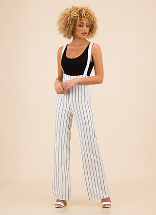 Perfectly Pinstriped Suspender Pants