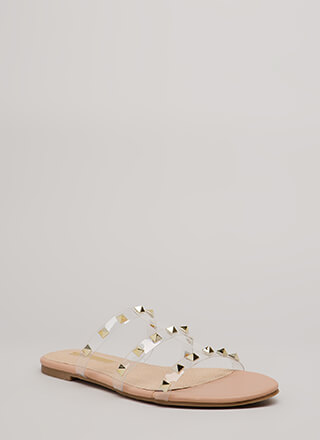 Clearly Spiked Studded Sandals