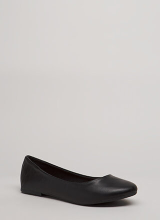 Tap Your Toes Faux Leather Ballet Flats