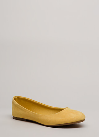 Tap Your Toes Faux Suede Ballet Flats