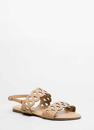 On A Loop Cut-Out Faux Nubuck Sandals