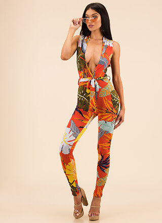 Take Leaf Plunging Tropical Jumpsuit