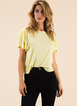 Going With The Flow Ruffle Sleeve Top