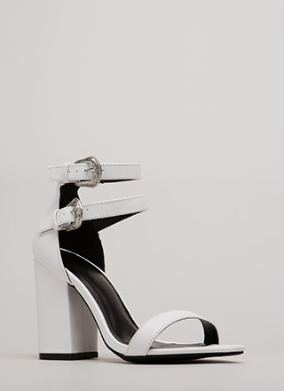Double Time Chunky Buckled Heels