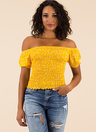 Star Gazing Smocked Off-Shoulder Top