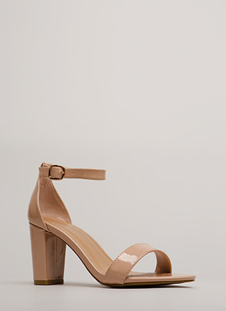 Simply Striking Chunky Faux Patent Heels