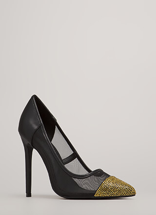 Twinkle Toes Jeweled Pointy Mesh Pumps