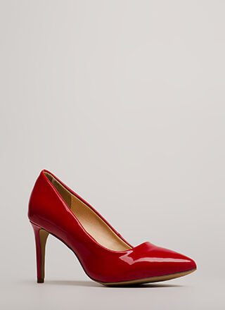 Short Supply Pointy Faux Patent Pumps