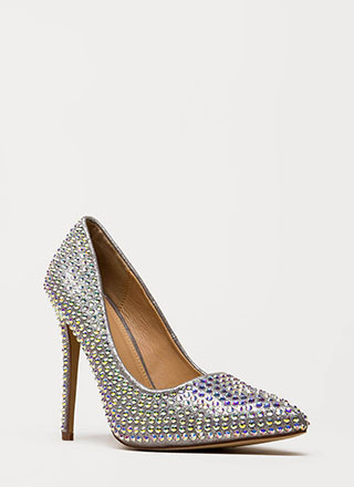 Super Sparkle Pointy Faux Gem Pumps