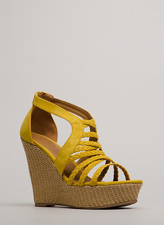 In One Basket Braided Platform Wedges